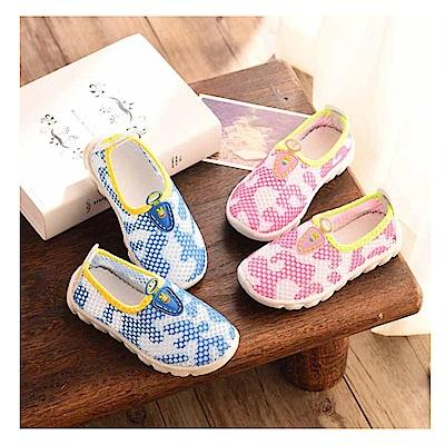 春夏迷彩兒童透氣網狀帆布鞋