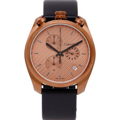 CK Calvin Klein雅痞編織紋三眼手錶(K6Z17TCK)-銅金色面/44mm
