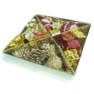 聖誕迷你吊飾小禮盒組(金紅色系)