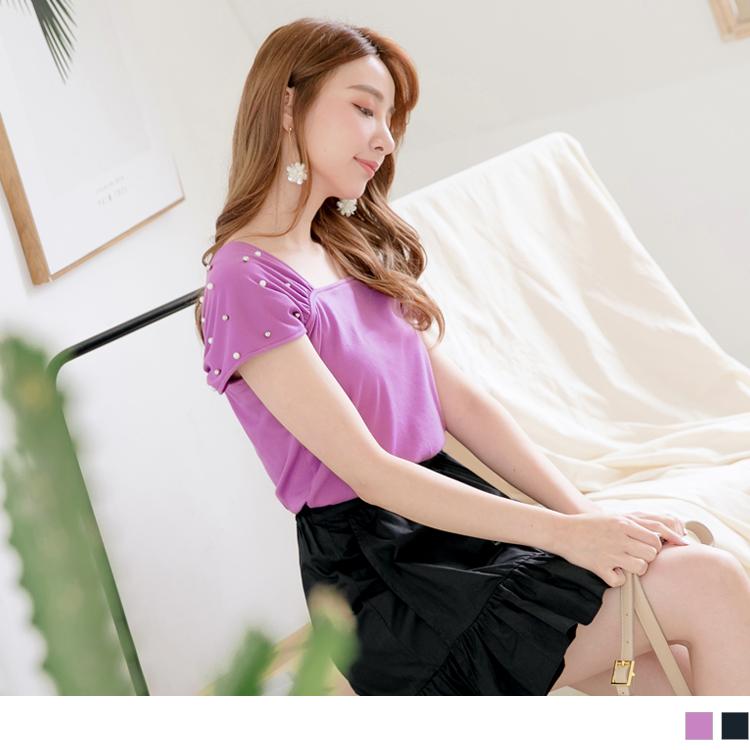 綴珍珠抓皺袖設計純色方領上衣
