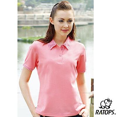 【瑞多仕-RATOPS】女 Coolmax 格子布POLO衫_DB8045 桃紅 V