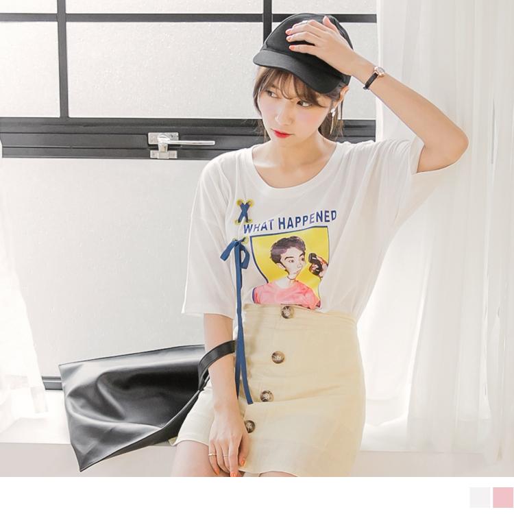 照片膠印X交叉織帶點綴高含棉落肩寬鬆T恤.2色
