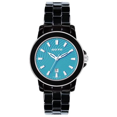 GOTO 彩妝系列時尚腕錶-黑x藍/36mm
