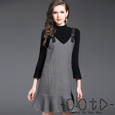 純色七分袖針織毛衣+條紋吊帶裙兩件套 (黑色+條紋)-OOTD