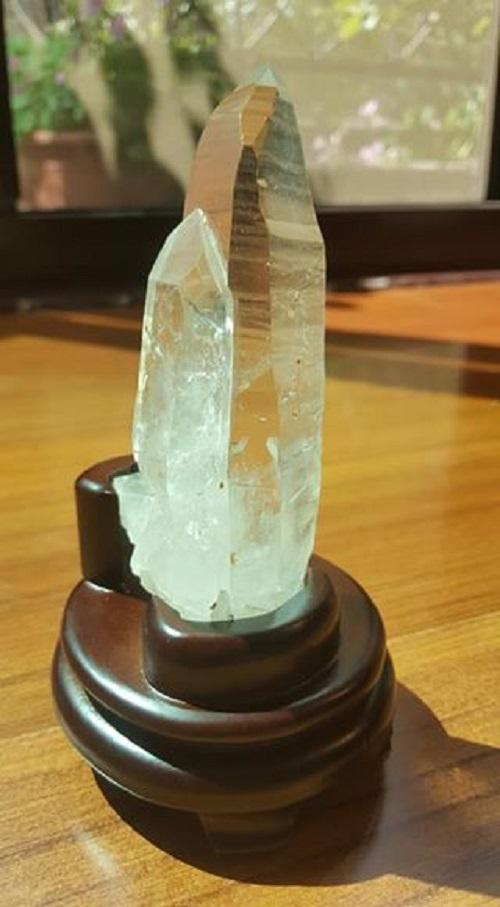 180331-1 巴西金色雷姆尼亞種子水晶~含座高度14公分(列木尼亞、Lamurian)