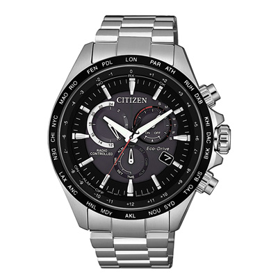 CITIZEN GENT S光動能時尚探索者三眼腕錶-銀X黑(CB5838-85E)