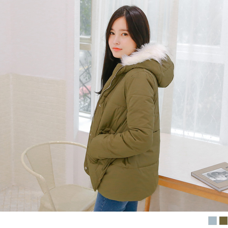 收腰視覺側釦岔滾毛邊連帽鋪棉暖感大衣/外套.2色