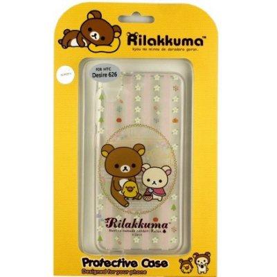 Rilakkuma 拉拉熊/懶懶熊 HTC Desire 626 (D626x) 彩繪透明保護軟套-花草優雅熊
