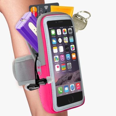 雙層運動手機臂套-防水反光觸控-玫紅X5.7吋以下通用 活力揚邑