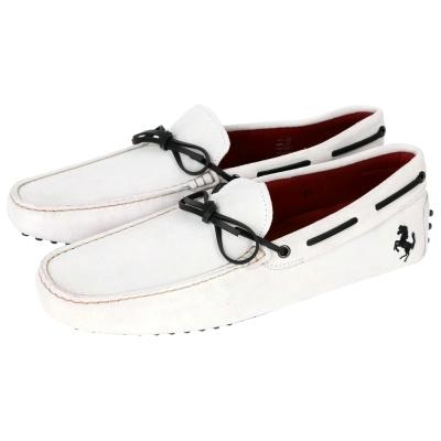 TOD'S FOR FERRARI GOMMINO 麂皮豆豆休閒鞋(灰白色)