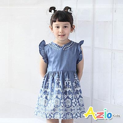 Azio Kids 洋裝  花朵圖騰仿蕾絲印花荷葉袖洋裝(藍 )