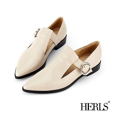 HERLS 時髦典範 全真皮鏤空圓釦尖頭樂福鞋-米色