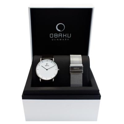 OBAKU 北歐纖薄哲學二針時尚中性套錶組-白x/咖啡色x米蘭錶帶/37mm