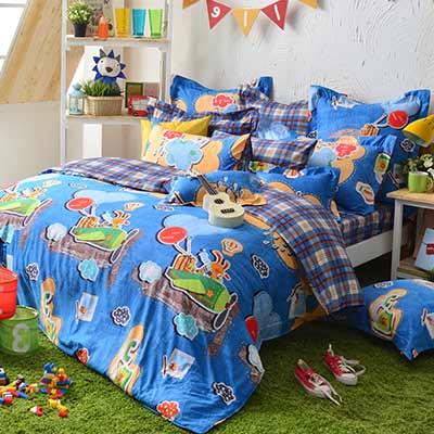 義大利Fancy Belle 熊比冒險趣 特大貢緞四件式防蹣抗菌舖棉兩用被床包組