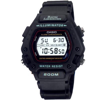CASIO 全方位電子黑戰將運動錶(DW-290-1)