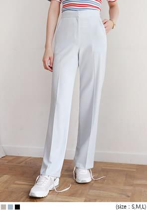 韓國空運 - 側口袋高腰直筒西裝褲 長褲