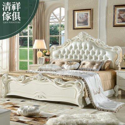【新竹清祥家具】FBB-04BB01A-法式象牙白六呎床架 雙人床 歐式  新古典 實木 床台 床架 皮床 法式床
