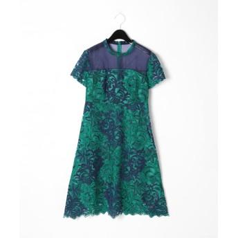【オンワード】 GRACE CONTINENTAL(グレースコンチネンタル) チュール刺繍フレアワンピース グリーン 36 レディース 【送料無料】