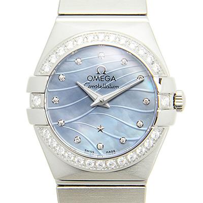 OMEGA 歐米茄 Constellation 星座系列波紋藍色珍珠貝母腕錶-24mm