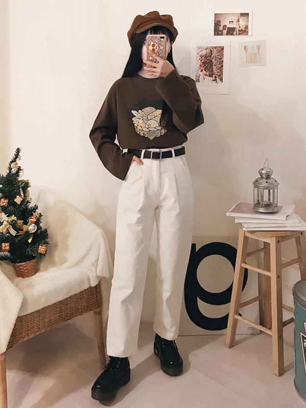 韓國空運 - Pin tuck belt SET corduroy pants 長褲