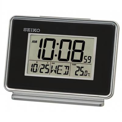 SEIKO 靜音鬧鐘 溫度/日期顯示 電子鍾(QHL068K)-黑/9x12.7cm