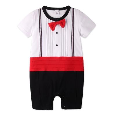 baby童衣 連身衣 圓領短袖領結假兩件爬服60253