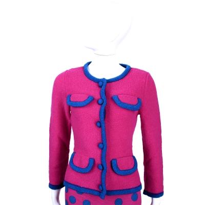 BOUTIQUE MOSCHINO 桃紅色滾邊設計外套(80%LANA)
