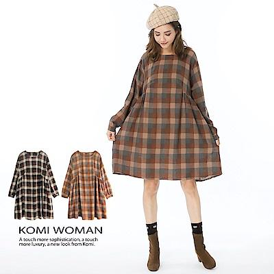 【KOMI】棉麻森林格紋大口袋洋裝-二色