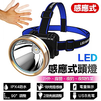 【FJ】專業IPX4防水手勢感應LED頭燈/探照燈