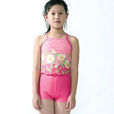 聖手牌 兒童泳裝 紅粉葵花兩件式女童泳裝