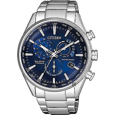 CITIZEN 星辰 鈦金屬光動能萬年曆電波錶-藍x銀/41mm(CB5020-87L)