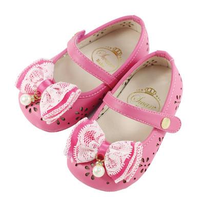 Swan天鵝童鞋-粉彩雕花摟空學步鞋 1481-桃