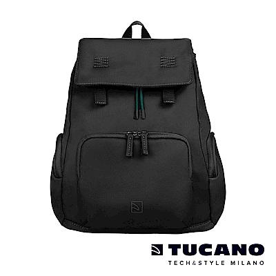 TUCANO 超輕量防潑水撞色系休閒大容量後背包-黑色
