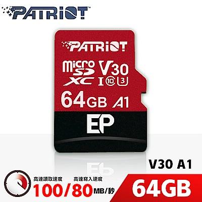 (6/20前再送3%超贈點)Patriot美商博帝 EP MicroSDXC U3 V30 A1 64G 記憶卡