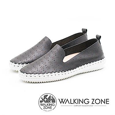 WALKING ZONE 簡約舒適皮革懶人樂福鞋便鞋 女鞋 黑 A55-832208-01