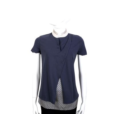 FABIANA FILIPPI 藍灰色拼接假兩件式短袖上衣