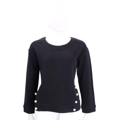 BOUTIQUE MOSCHINO 黑色珍珠裝飾棉質長袖上衣
