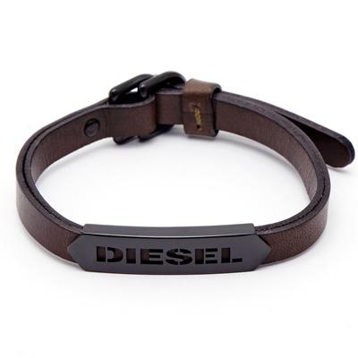DIESEL 懷舊深褐色LOGO皮革手環(DX1001001)