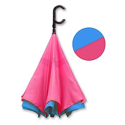 好雅也欣-雙層傘布散熱專利反向傘-C把系列-藍面桃底