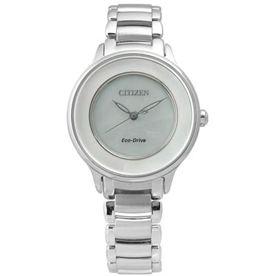 CITIZEN 星辰 Eco-Drive 晨之曙光光動能腕錶 白 EM0380-57D