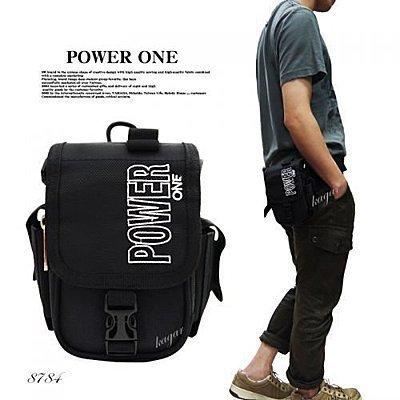 加賀二館 腿包 POWERONE 直式簡約造型腰包上蓋式腰包/掛包/斜背包/側背包 8784