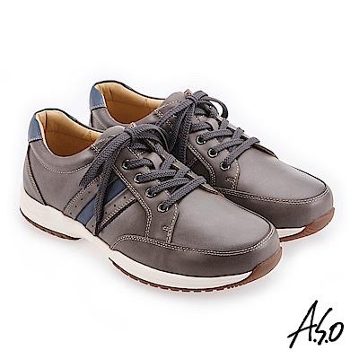 A.S.O 阿瘦 3D超動能 雙皮革配色休閒鞋 灰 10014000327-93