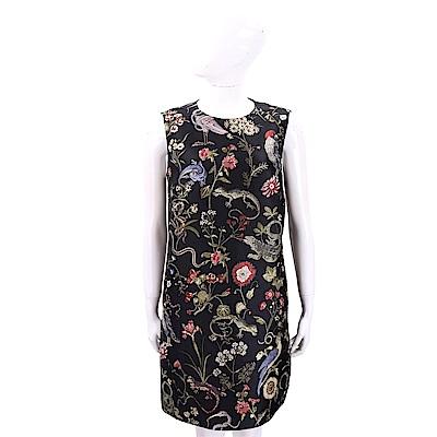 RED VALENTINO 花鳥刺繡圖騰黑色錦緞洋裝