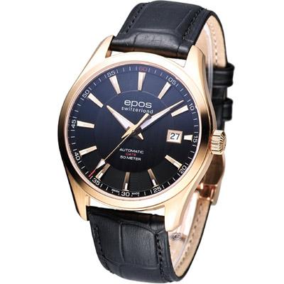 EPOS 經典極致機械腕錶-玫瑰金框/39mm