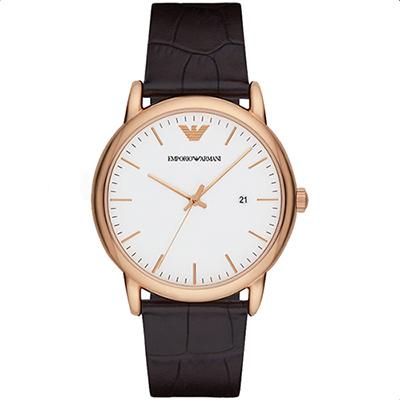 Emporio Armani Classic 都會時尚石英腕錶-白x玫塊金x咖啡/42mm