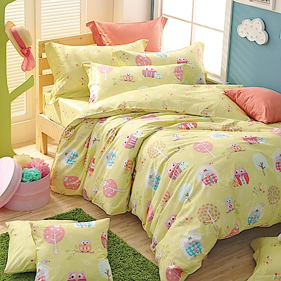 IN HOUSE - Owl city-200織紗精梳棉-兩用被床包組(黃-加大)