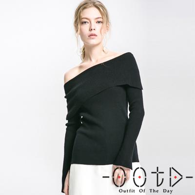 性感一字領落肩長袖針織上衣 (共三色)-OOTD