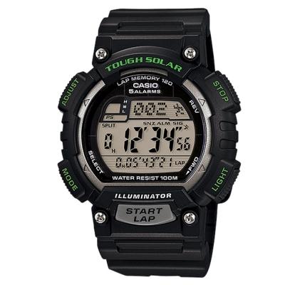CASIO 太陽能全方位新元素運動風數位錶(STL-S100H-1A)-黑x銀錶框/45.4mm