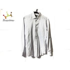 コルネリアーニ CORNELIANI 長袖シャツ サイズ15/38 メンズ 白×ブルー ストライプ   スペシャル特価 20190922