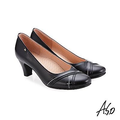 A.S.O 阿瘦 義式簡約 交叉裝飾鞋面高跟鞋 黑 10027000651-99